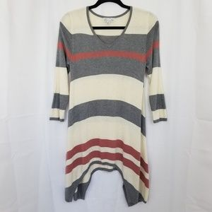Shark Bite Striped Long Sweater Exposed Seams V